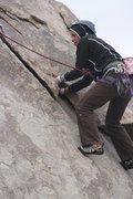 Rock Climbing Photo: Agina following Granny Goose. 11-28-09