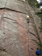 Rock Climbing Photo: Me above the crux at the second pro.