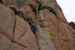 """Rock Climbing Photo: Avoiding the """"crux"""". Stepping left to th..."""
