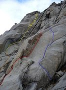 Rock Climbing Photo: Shown in Yellow:  Enter the Dragon, with the appro...