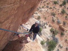 Rock Climbing Photo: Looking back at the belay after making the mantle ...