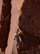 Rock Climbing Photo: Clayton stretching out past some mighty thin gear,...
