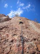 Rock Climbing Photo: Climber on P2 of Harvey on a wonderfully sunny Fal...
