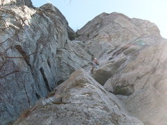 Rock Climbing Photo: Mike starts 1st pitch Little Corner