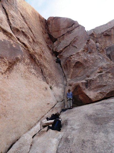 Glen nearing the crux of the climb
