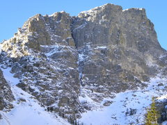 Rock Climbing Photo: Route is lower left of chimney. Small tougue of ea...