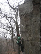Rock Climbing Photo: Dobbe getting ready to move to the right crimp