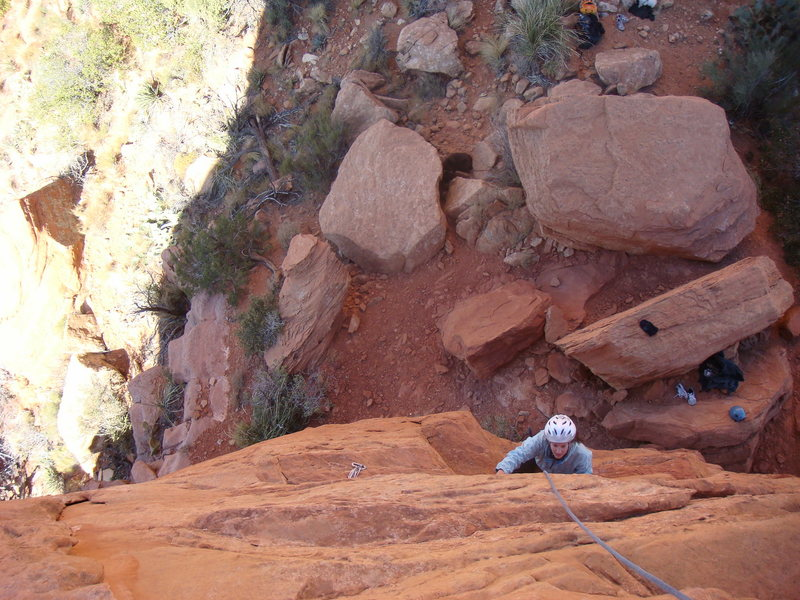 Rock Climbing Photo: Amanda coming up the first pitch. Watch that top-o...