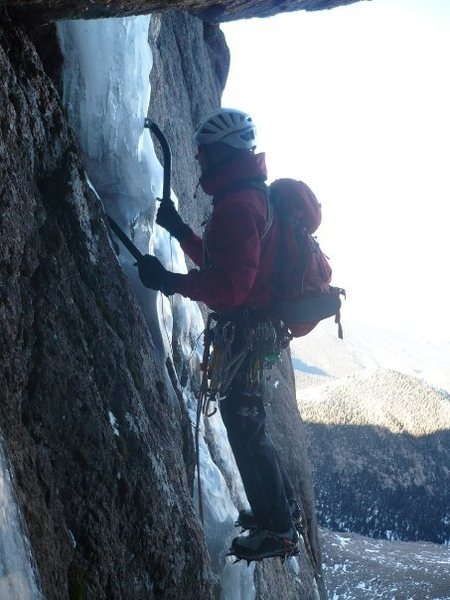 Rock Climbing Photo: The last of the ice on the final pitch.