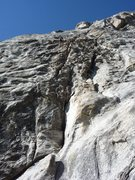 Rock Climbing Photo: P1, anchors are up about 160 feet near horizontal ...