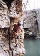 Rock Climbing Photo: Fetal Pig, 5.9 at Kankakee River State Park, circa...