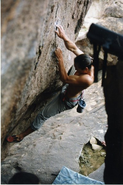 Rock Climbing Photo: Making the moves on the crimpy lower crux.  Photo ...