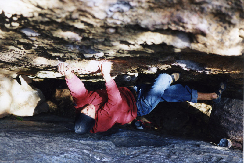 Rock Climbing Photo: Bearing down on the thin crimps of Dr Slutty Pants...