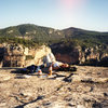 Linda hanging with her good friend Nutella on top of the refugio in Siurana