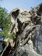 Rock Climbing Photo: At the stance below the crux. There is a bit of a ...