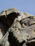 Rock Climbing Photo: Starting the crux standup move. The crack is too t...