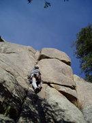 Rock Climbing Photo: Entering the wide section.  Photo by Luke Clarke.