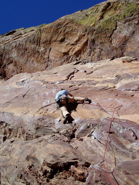 Rock Climbing Photo: At the second bolt. Clipping this bolt is a bit di...