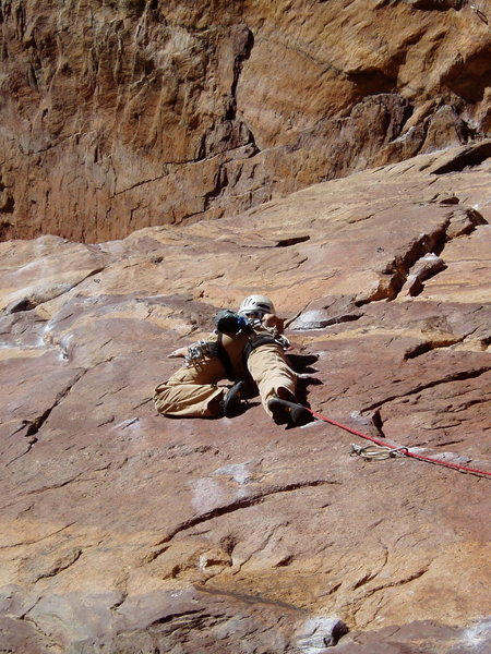 Rock Climbing Photo: Another hard move--at the third bolt.