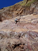 Rock Climbing Photo: Stepping up at the upper flake.