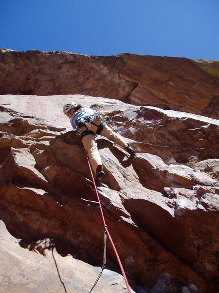 Rock Climbing Photo: Moving left after the initial roof.