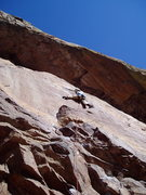 Rock Climbing Photo: Starting the crux sequence. You can climb to the l...