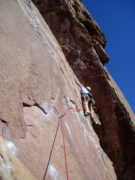 Rock Climbing Photo: Stretching to clip the second bolt. Lisa had to ta...