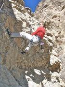 Rock Climbing Photo: Andrea blazing up the roof of magic helmet.