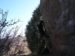 Rock Climbing Photo: Going for the pocket.