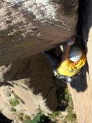 Rock Climbing Photo: Near the top of P3.  Photo by Adam Sinner.
