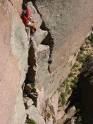 Rock Climbing Photo: Chris Breed at the top of P1.