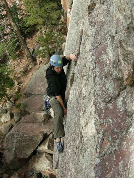 Rock Climbing Photo: Pulling rope to clip gear after the crux.