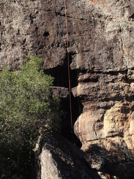 Rope hanging off the route. Most of the line is visible, maybe an additional 20' above the top of the frame.