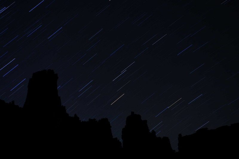 Rock Climbing Photo: Stars over the Fisher Towers in Castle Valley, Uta...
