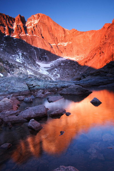 Rock Climbing Photo: Alpenglow on the Diamond in Colorado's Rocky Mount...