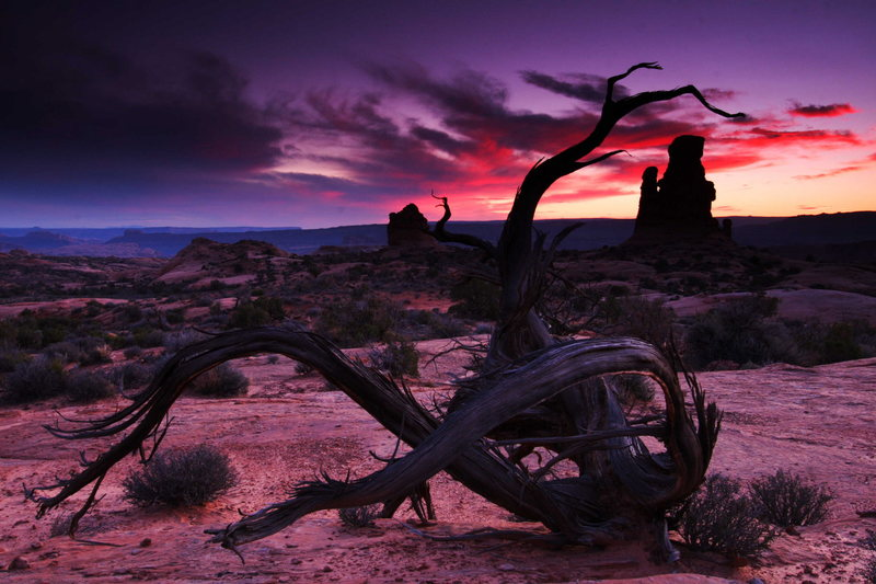 Sunset over Arches National Park, Utah.