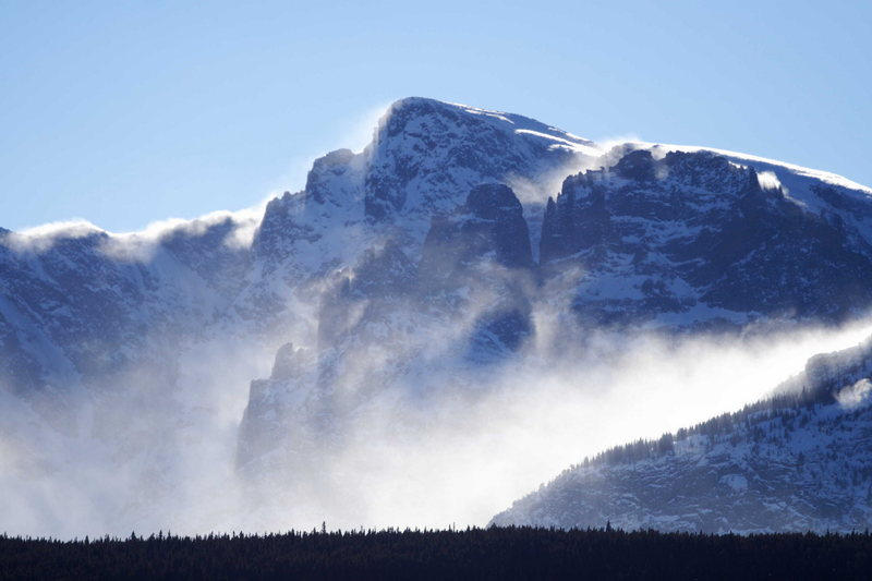 Spindrift shrouds Hallet Peak in Rocky Mountain National Park, Colorado.