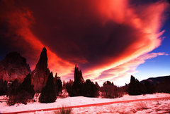 Rock Climbing Photo: Lenticular clouds over the Garden of the Gods, Col...