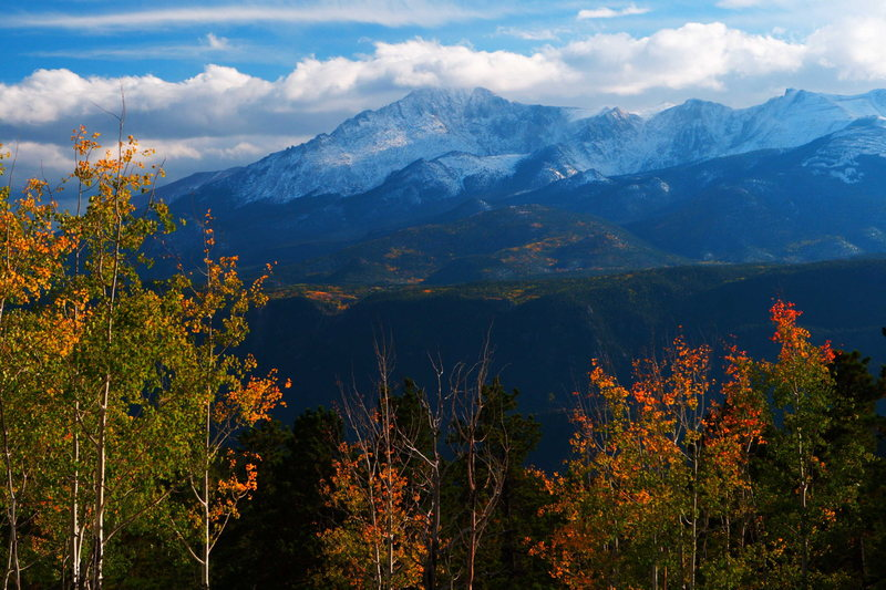 Pikes Peak from Rampart Range Road, South Platte, Colorado.