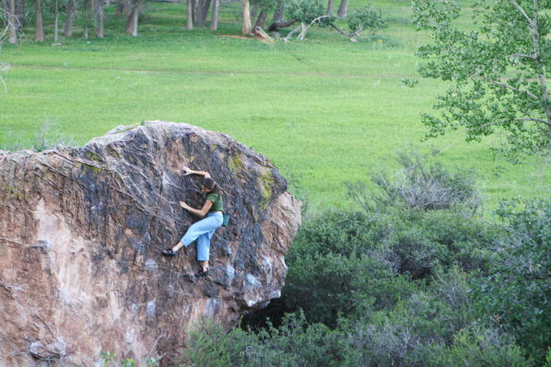 Janelle bouldering in the Snake Pit, Garden of the Gods, CO.