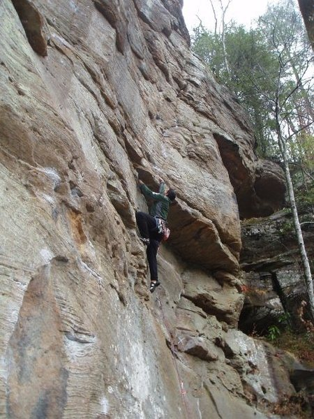 A. Rothman getting to crux (small roof) on Little Viper