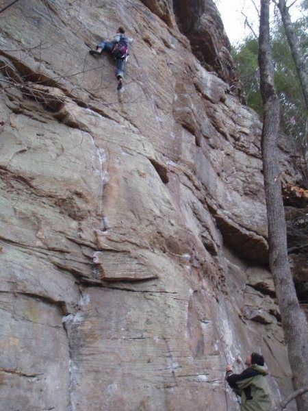 B. Wagner going for crux. Right hand on crimp shooting left to nubbin