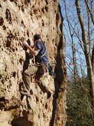 Rock Climbing Photo: R. Henshaw sticking the pockets and pulls on &quot...