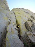 Rock Climbing Photo: Starting up the steep crack to gain the large chim...