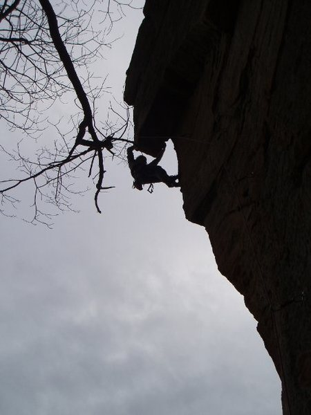 Rock Climbing Photo: B. Wagner silhouetted on the hanging/humpy crux of...