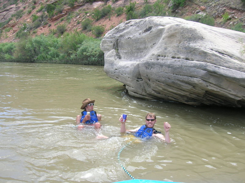 Rock Climbing Photo: Mikey and I drinkin in the Colorado on a rafting t...