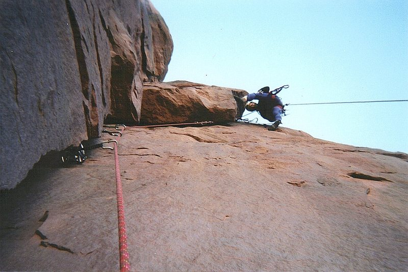 Rock Climbing Photo: Tele photo. Exiting the roof crack ... tipped out ...
