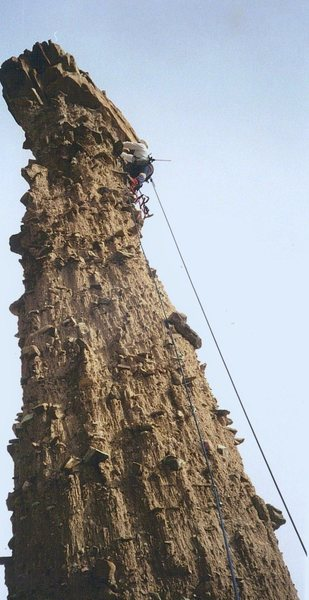 Rock Climbing Photo: P. Ross on the first ascent.
