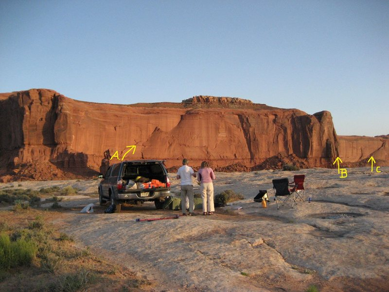 Lost World Butte from the capsite. A)The Road Not Taken.B) Kripling Groove. C)Pearly Gates.
