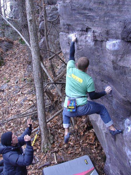 Rock Climbing Photo: Steve sticking the crux.